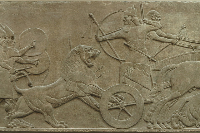 An Assyrian king engages in a royal lion hunt. 7th century B.C.